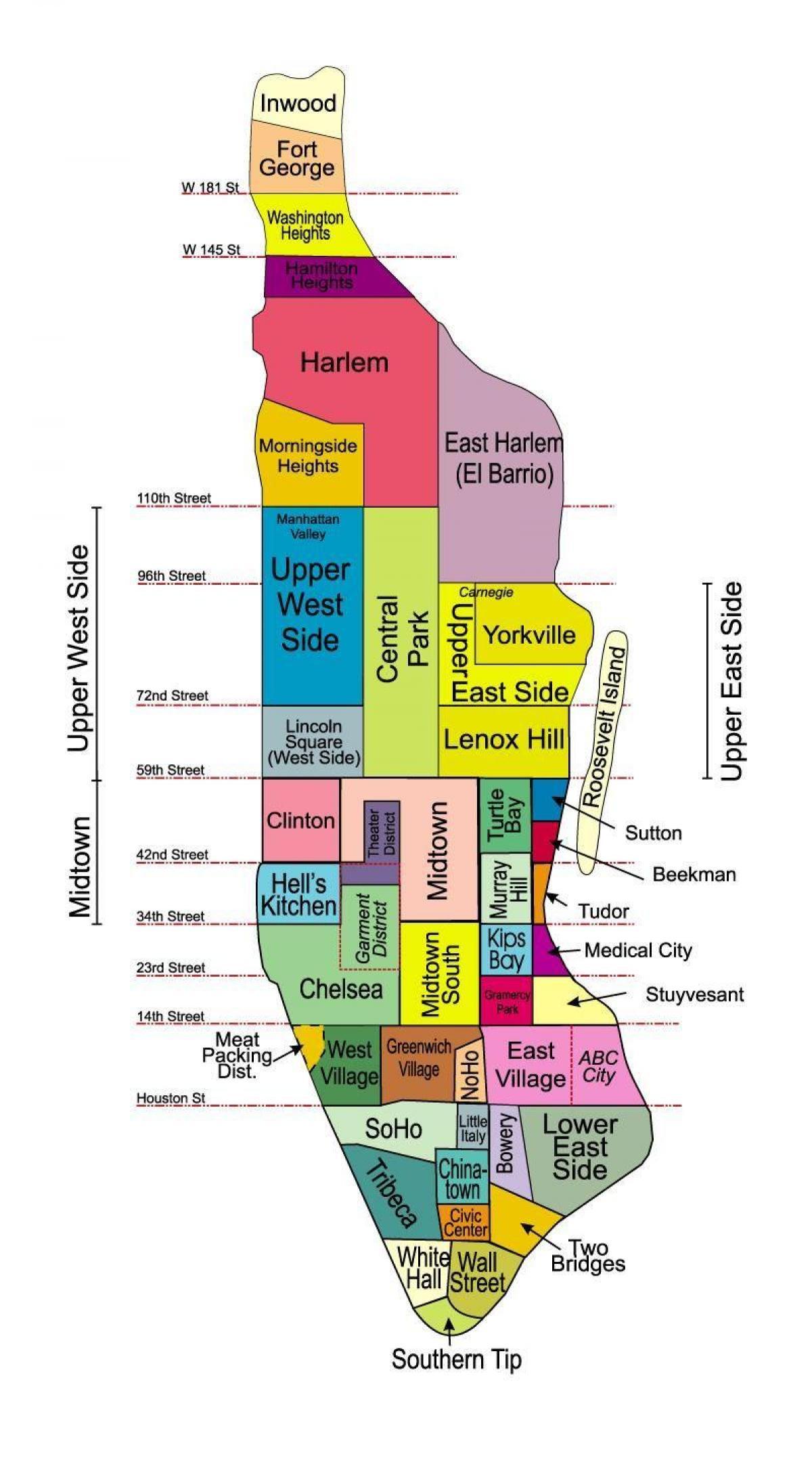 Mapa New Yorku Ctvrti Manhattan Mapy Pro Tisk Ctvrti Manhattanu